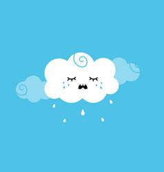 Cute cartoon style cloud character crying raining vector