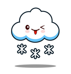 Cute cloud snowflake kawaii face icon cartoon vector