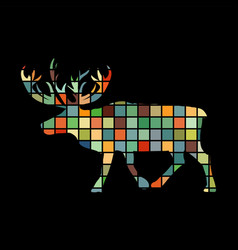 Deer northern color silhouette animal vector