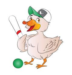 Duck baseball player vector
