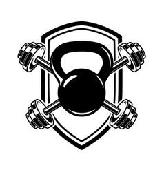 emblem with kettlebells and barbells design vector image