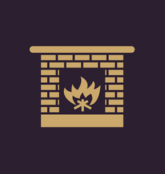 fireplace icon hearth and chimney fire vector image
