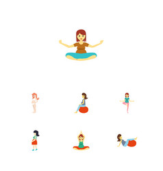 flat icon pregnancy set of pose mother vector image vector image