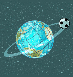 football soccer ball planet earth championship vector image
