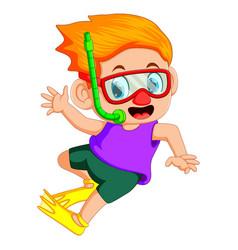 Funny snorkeling boy vector