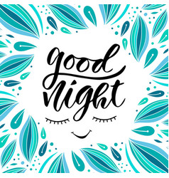 Good night card in calligraphy style handwritten vector