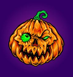 halloween jack o lantern carving zombie pumpkins vector image