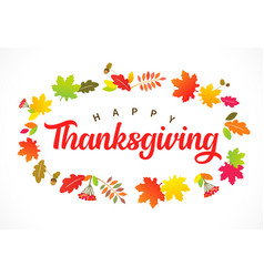 happy thanksgiving leaf wreath and lettering vector image