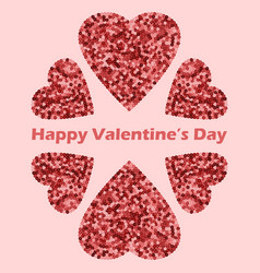 happy valentines day card with pink sequins hearts vector image