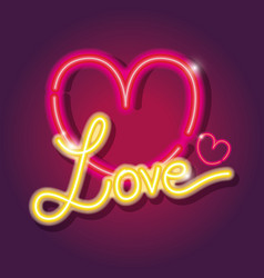 Heart love icons neon sign decoration vector
