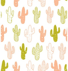 Hipster cactus seamless pattern Cacti tribal boho vector