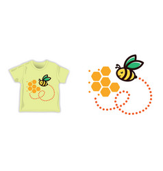 honey bee seamless pattern fabric shirt textile vector image
