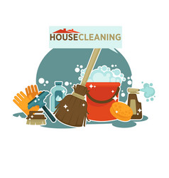 House cleaning service promotional emblem isolated vector