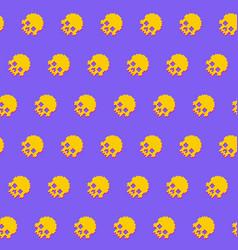 human skulls seamless pattern 8bit retro style vector image