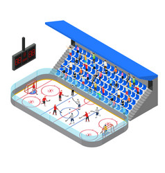 Ice hockey arena competition concept 3d isometric vector
