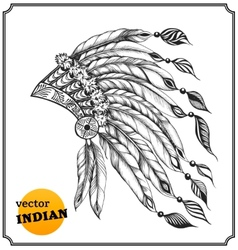 Indian chieftain headdress with feathers vector image