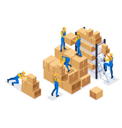 isometric workers in a warehouse collect boxes vector image