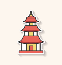 japanese temple patch buddhist pagoda structure vector image