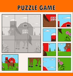jigsaw puzzle game with cute horse animal vector image