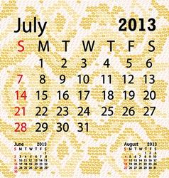 July 2013 calendar albino snake skin vector