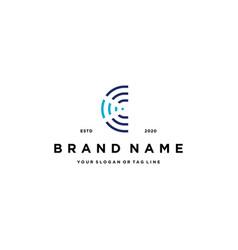 Letter c wireless logo design vector