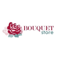 logo with rose for bouquet store or flower shop vector image