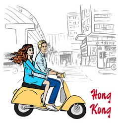Man on hong kong vector