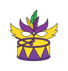 mardi gras mask and drum festival celebration vector image