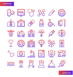 medical and healthcare gradient icons set vector image
