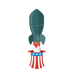 Missile usa rocket fly of hat uncle sam american vector