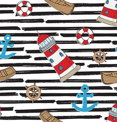 Nautical Anchor and Lighthouse Seamless Pattern vector image