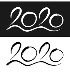 new year 2020 calligraphic numbers set vector image