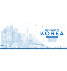 Outline welcome to south korea city skyline vector