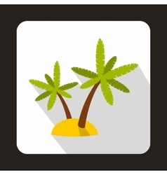 Palm trees on island icon flat style vector image