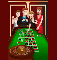 People playing roulette in a casino vector