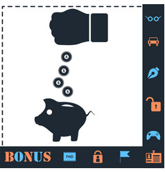 Piggy bank and hand with coin icon flat vector