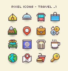 pixel icons-travel 1 vector image