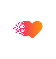 Pixel love logo icon design vector
