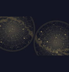 Poster witn star constellations southern and vector