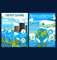 Posters for green energy or ecology saving vector