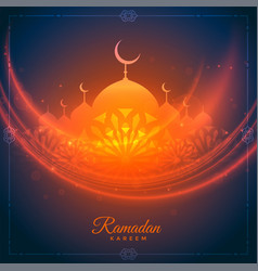 Ramadan kareem glowing wishes card with mosque vector