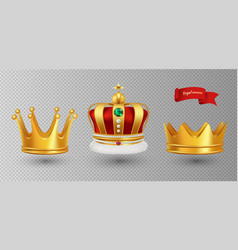 realistic royal crowns luxury premium vector image