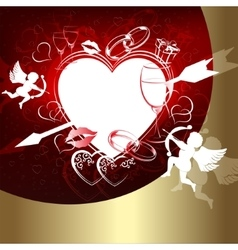 Red design with hearts and Cupid vector