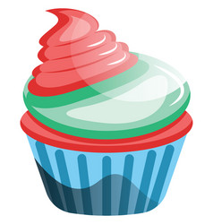 Red velvet cupcake with colorful frosting on vector