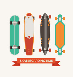 Retro skateboard decks icons vector