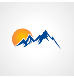 Rocky high mountain sun logo vector