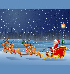 Santa claus boarded a deer sled background scener vector