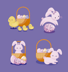 set of cute rabbits and chickens of easter vector image