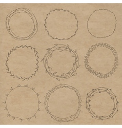 Set of decorative wreaths doodle Nine vector
