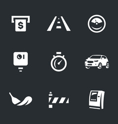set of toll road icons vector image